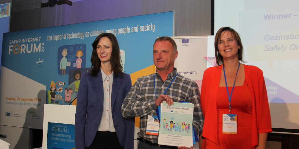 Gezinsbond and Child Focus with Commissioner Mariya Gabriel at Safer Internet Forum 2018