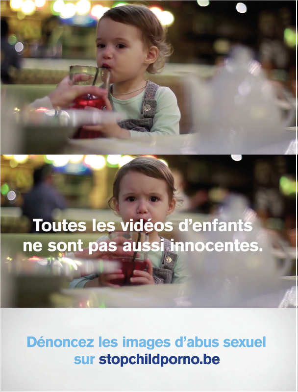 "Child Focus poster featuring a baby with the text ""Not all children videos are this innocent"""