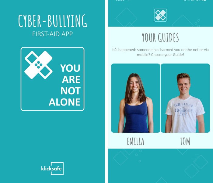 Screenshots of the Cyber-Bullying First Aid App