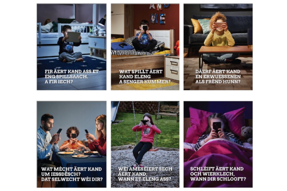 "Pictures of the awareness campaign posters ""The use of screens in the family"""
