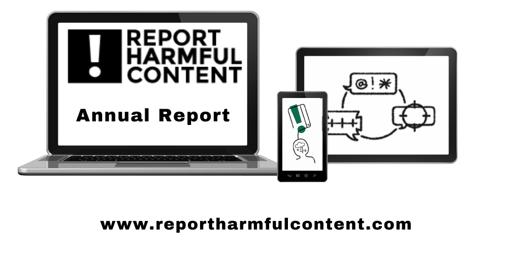 Image of laptop, tablet and smartphone showing Report Harmful Content