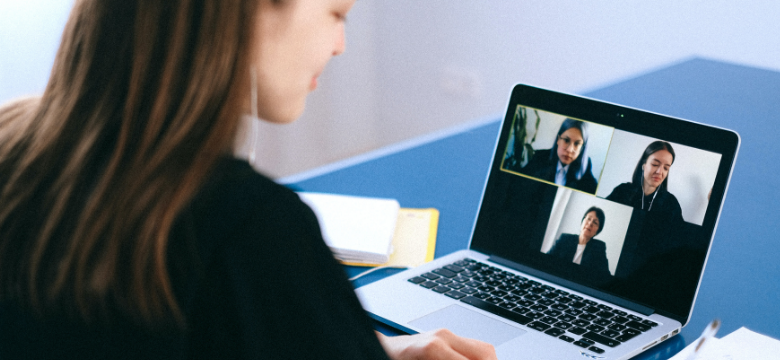 Young woman in a videoconference