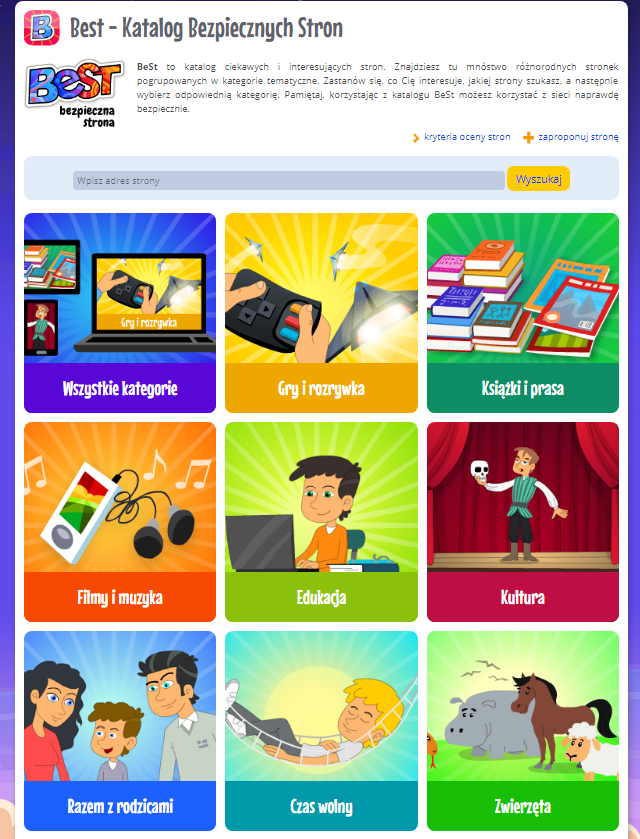 Screenshot of BeSt catalogue of websites and apps for kids