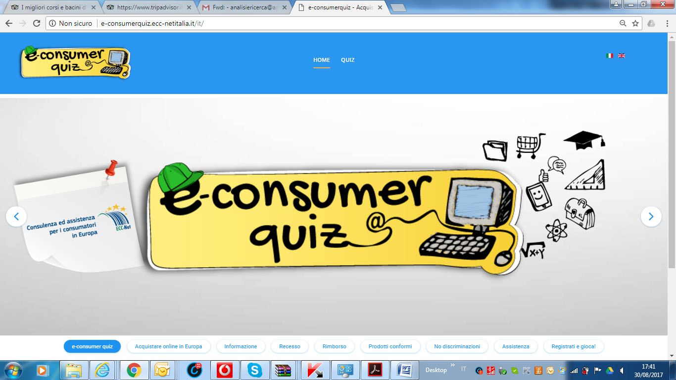 Screenshot of E-consumer quiz