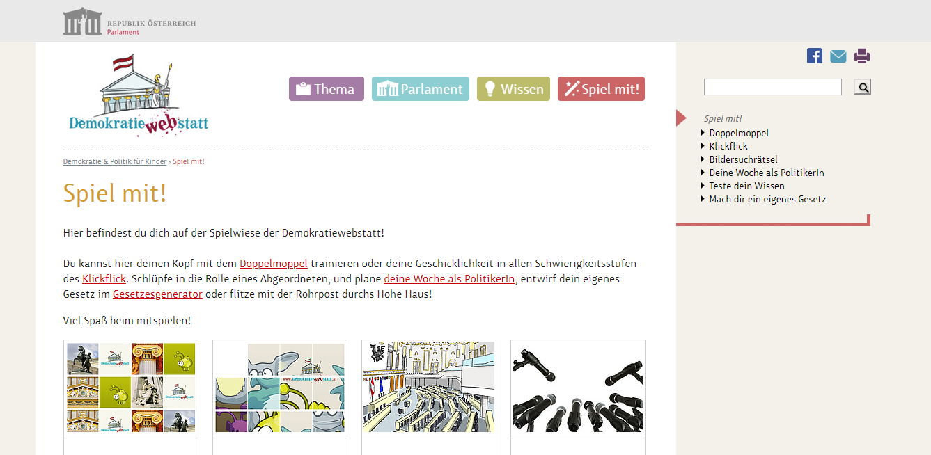 Screenshot the Dermokratiewebstatt website