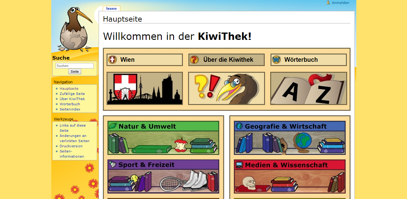 Screenshot of the Kiwithek website